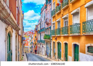 Lisbon, Portugal - March 29, 2018: Street perspective view with colorful traditional houses