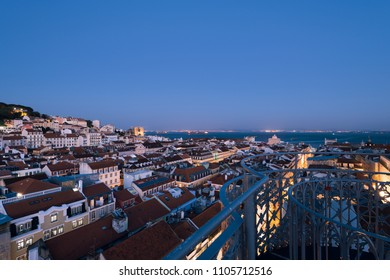 Lisbon, Portugal - May 03, 2018: Elevated view of Lisbon skyline.