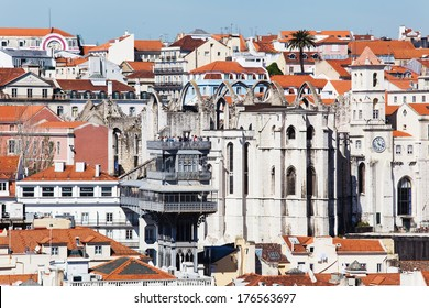 LISBON, PORTUGAL - MAY 04: aerial view with unidentified people on May 04, 2013 of Lisbon. The elavator Santa Justa  and the Convento do Carmo, which was ruined 1755 by a an earthquake, are seen.