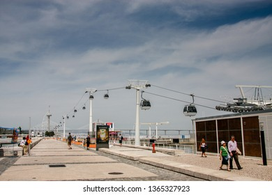 LISBON, PORTUGAL - MAY 05, 2008: Cable cars (Telecabine Lisboa) on the Tagus river at Parque das Nacoes (Park of Nations) in Lisbon, Portugal on May 05, 2008.