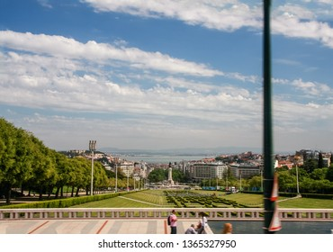 LISBON, PORTUGAL - MAY 07, 2008: Panorama of the Eduardo VII Park in Lisbon, Portugal on May 07, 2008.