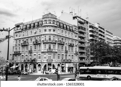 LISBON, PORTUGAL - MAY 07, 2008: Building with elements of Art Nouveau architecture style in Lisbon, Portugal on May 07, 2008.