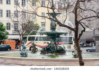 LISBON, PORTUGAL - MAY 07, 2008: Baroque fountain at Rossio Square located at Baixa district in Lisbon, Portugal on May 07, 2008.