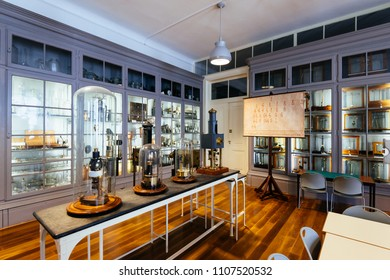 Lisbon, Portugal - May 08, 2018: Exhibition hall at the National Museum of Natural History and Science, Lisbon.