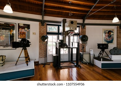 Lisbon, Portugal - May 08, 2018: Exhibition hall of the Cinemateca, Cinema Museum in Lisbon.