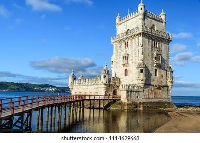 Lisbon, Portugal, may 10, 2018: Torre de Belem - famous landmark of Lisbon , Portugal at sunrise