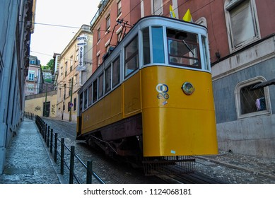 Lisbon, Portugal - May 11, 2010: The Gloria Funicular (Elevador da Gloria) in the city of Lisbon, Portugal. Gloria Funicular connects the Pombaline downtown with Bairro Alto