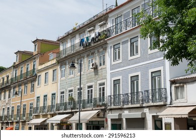 LISBON, PORTUGAL - MAY 12, 2015: Buildings