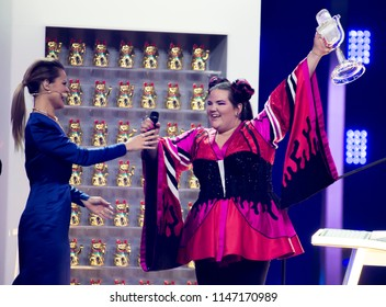 "LISBON, PORTUGAL - MAY 12,2018: Netta Barzilai, representing Israel, wins the Eurovision song contest 2018 with the song ""TOY"""