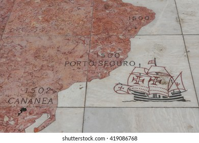 LISBON, PORTUGAL - MAY 13, 2015: Details of wind rose laid in marble depicting the Portuguese discovery expeditions.