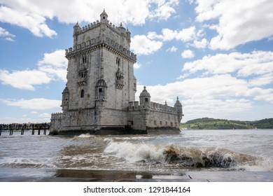 Lisbon / Portugal - May 13, 2018: Torre de Belem (Belem Tower) on the Tagus River guarding the entrance to Lisbon