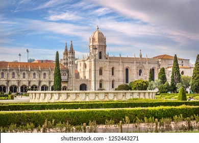 Lisbon, Portugal - May 15th 2018 - The Jeronimo Monastery, a former monastery of the Order of Saint Jerome near the Tagus river in the parish of Belém, in the Lisbon Municipality, Portugal