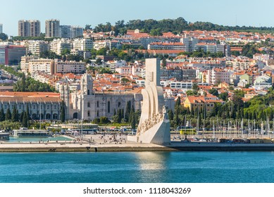 Lisbon, Portugal - May 19, 2017: View of Monument to the Discoveries (Padrao dos Descobrimentos) on bank of the Tagus River, Belem district, Lisbon, Portugal.