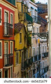 Lisbon, Portugal - May 20, 2017: Fragments from the streets of Old Lisbon, Portugal. Lisbon is colorful, friendly and very attractive.