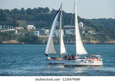 Lisbon, Portugal - may 22, 2017: Sailboats for tourist excursions sailing along the Tagus River in the area of Belem