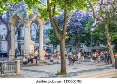 Lisbon, Portugal - may 22, 2017: People strolling among the trees of the Plaza de Carmo, in the Chiado neighborhood, in the historic center of the city