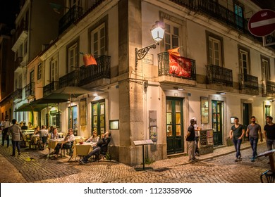 Lisbon, Portugal - may 24, 2017: Pedestrian streets and terraces of bars and restaurants in the Chiado district, in the historic center of the city