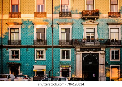 LISBON, PORTUGAL - May 24: The exterior of residential buildings in old town Lisbon on May 24, 2016. Lisbon is a capital and the largest city of Portugal.