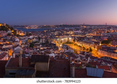 LISBON, PORTUGAL - May 24: The skyline of old town Lisbon during sunset on May 24, 2016. Lisbon is a capital and the largest city of Portugal.