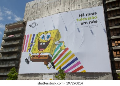 LISBON, PORTUGAL - MAY 26, 2014: SpongeBob SquarePants advertisement in Lisbon. SpongeBob is an American animated television series created by animator Stephen Hillenburg for Nickelodeon.