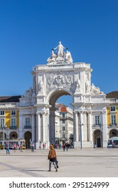 LISBON, PORTUGAL - MAY 26, 2015: Praca Do Comercio is located in the city of Lisbon, Portugal. Situated near the Tagus river, the square is still commonly known as Terreiro do Paco