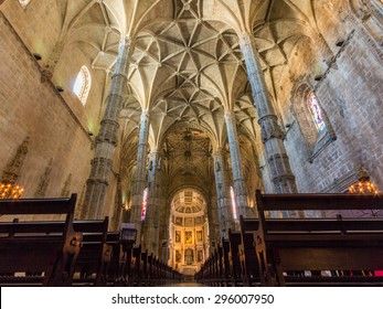 LISBON, PORTUGAL - MAY 26, 2015: Interior view of Monastery dos Jeronimos. It is a monastery of the Order of Saint Jerome located near the shore of the parish of Belem in Lisbon, Portugal.