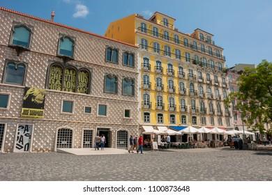 LISBON, PORTUGAL - MAY 26, 2018: Exterior view of Casa dos Bicos, home of Jose Saramago Foundation.