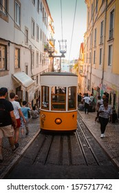 Lisbon / Portugal - May 26, 2019: Bica funicular. Opened in 1892, route length 283 meters