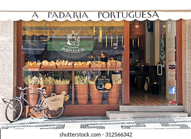 LISBON, PORTUGAL - MAY 27, 2012: Beautifully decorated showcase bakery in Lisbon