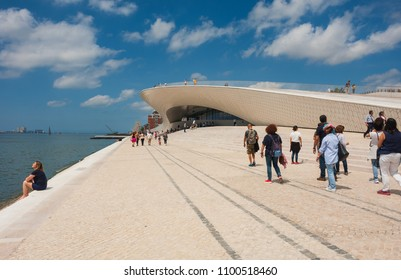 Lisbon, Portugal - May 27, 2018: MAAT - People at the Museum of Art, Architecture and Technology. Designed by the British architect Amanda Levete