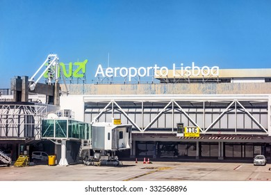 Lisbon, Portugal - May 30, 2013: At the airport of lisbon (Aeroporto Lisboa) after landing. Main gate with tower.