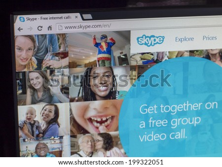 Lisbon, Portugal - May 30 2014: Image of skype homepage. Skype is a VoiP and video conference service created in August 2003.