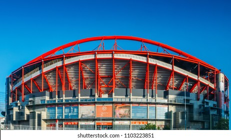 LISBON, PORTUGAL - May 31st, 2018: Outdoor panorama of Stadio da Luz, in English Stadium of Light, hosting Sport Lisboa e Benfica e Benfica. The stadium was rebuilt in 2003 with a total capacity