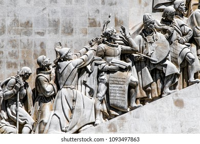 Lisbon, Portugal, May 5, 2018: Monument to the Discoveries, depicting Henry the Navigator and other prominent figures from Portugal's Age of Discovery.