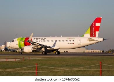 Lisbon, Portugal- May 5, 2019 Tap Plane Portugal CS-TNV at Lisbon Airport