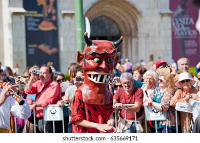 Lisbon, Portugal - May 6, 2017: Parade of costumes and traditional masks of Iberia at the XII International Festival of Iberian Masks