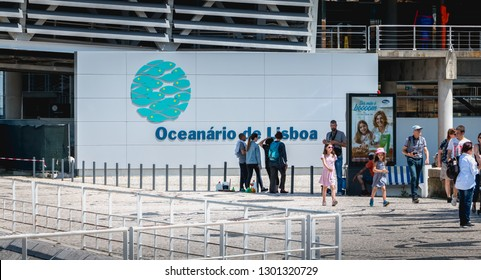 Lisbon, Portugal - May 7, 2018: people walking next to the Oceanarium of Lisbon a spring day. It is located in the Parc des Nations, a district created for the 1998 International Exhibition