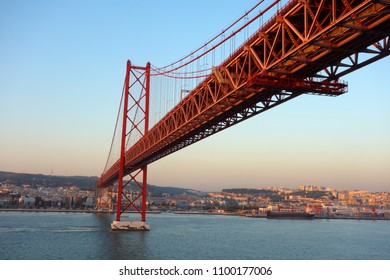 Lisbon, Portugal - May 7: Opened on 6th August, 1966, the 25th April suspension bridge links the city of Lisbon with the municipality of Almada in Lisbon,  Portugal May 7, 2018.