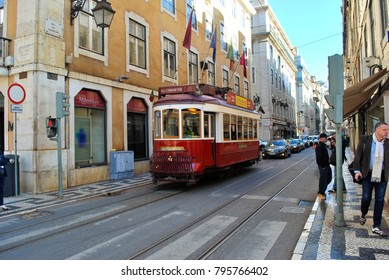 LISBON, PORTUGAL - NOV 10: Trams in Lisbon on Nov 10, 2017. Trams are especially useful in the narrow streets and also keep the traditional style of the historic centre of Lisbon.
