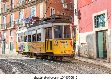 LISBON, PORTUGAL - NOVEMBER 05, 2018. The tramline twenty-eight with its  heritage streetcars is a major attraction in Lisboa