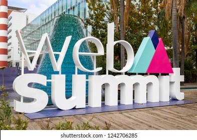 Lisbon / Portugal - November 06: 2018. Web Summit 2018 in Lisbon, Portugal. Startup Conference / Web Summit Logo