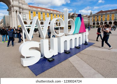 LISBON, PORTUGAL - NOVEMBER 07, 2018: A sign for Europe's biggest tech conference, the Web Summit
