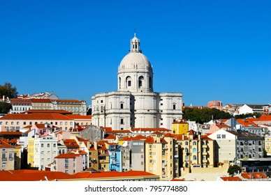 LISBON, PORTUGAL - NOVEMBER 10, 2017: Lisbon is Portugal's capital city. From imposing São Jorge Castle, the view encompasses the old city's pastel-colored buildings.
