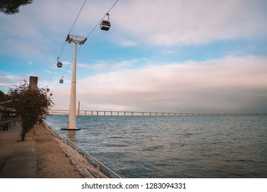 LISBON, PORTUGAL - November 10, 2018: Cable Car Ride Of Parque das Nacoes (Park of Nations) in Lisbon