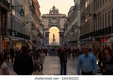 Lisbon, Portugal - November 11, 2011: People walking along the Augusta Street (Rua Augusta) in the city of Lisbon, Portugal.