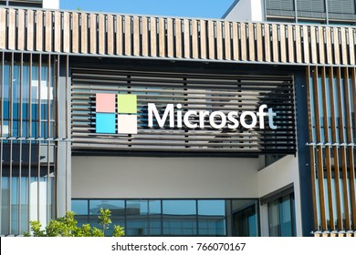 LISBON, PORTUGAL - NOVEMBER, 12, 2017: Microsoft logotype on new Lisbon office. Portugal