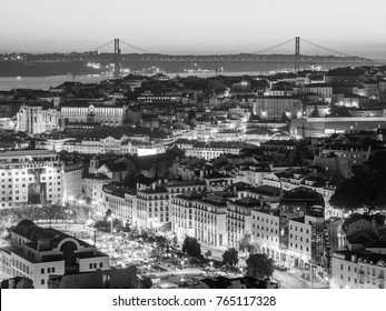 LISBON, PORTUGAL - NOVEMBER 19, 2017: The cityscape of Lisbon, Portugal, by night, shortly after sunset on a November day.