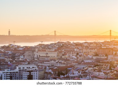 LISBON, PORTUGAL - NOVEMBER 19, 2017: Cityscape of Lisbon, Portugal, at sunset on a November day, as seen from Belvedere of Our Lady of the Hill viewpoint.
