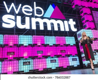 LISBON, PORTUGAL - NOVEMBER 2017: American television personality and LGBT spokesperson, Caitlyn Jenner, speaks onstage at the Web Summit in Lisbon about her life and her transgender journey.