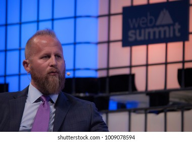 LISBON, PORTUGAL - NOVEMBER 2017: Brad Parscale, digital media & political strategist for President Donald Trump is interviewed by Michael Isikoff of Yahoo News at the Web Summit in Lisbon.